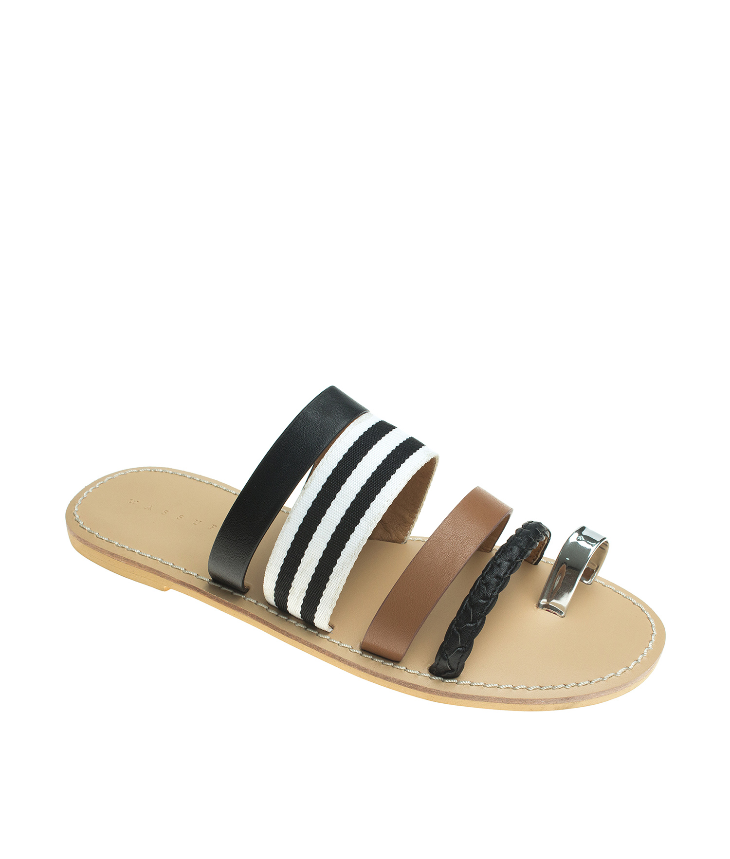 449fb575b AnnaKastle Womens Kumi Toe Ring Strappy Flat Slide Sandals Black