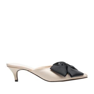 1771f4488155 AnnaKastle Womens Big Bow Satin Low Kitten Heel Mule Sandal Beige ...
