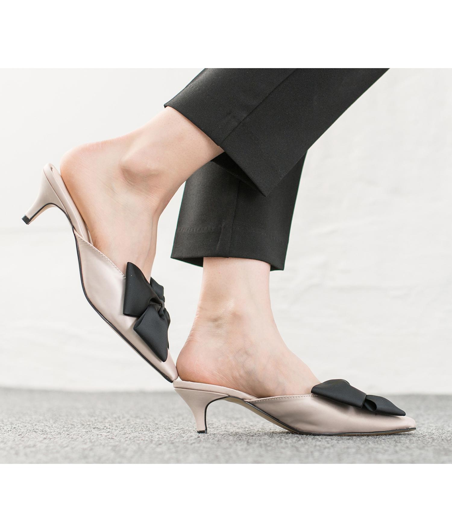c6948649bad AnnaKastle Womens Big Bow Satin Low Kitten Heel Mule Sandal Beige