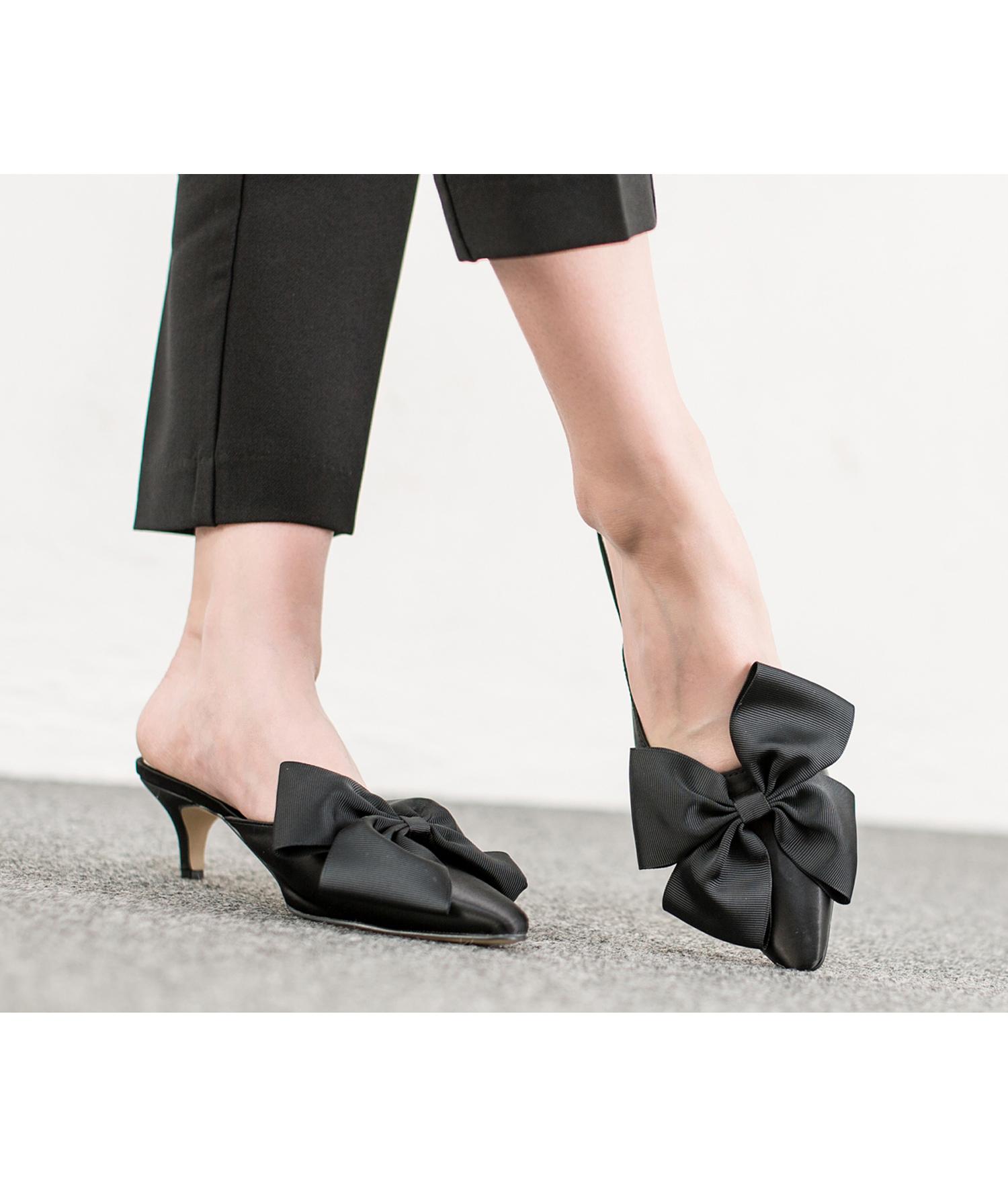 4ae65860b4d AnnaKastle Womens Big Bow Satin Low Kitten Heel Mule Sandal Black