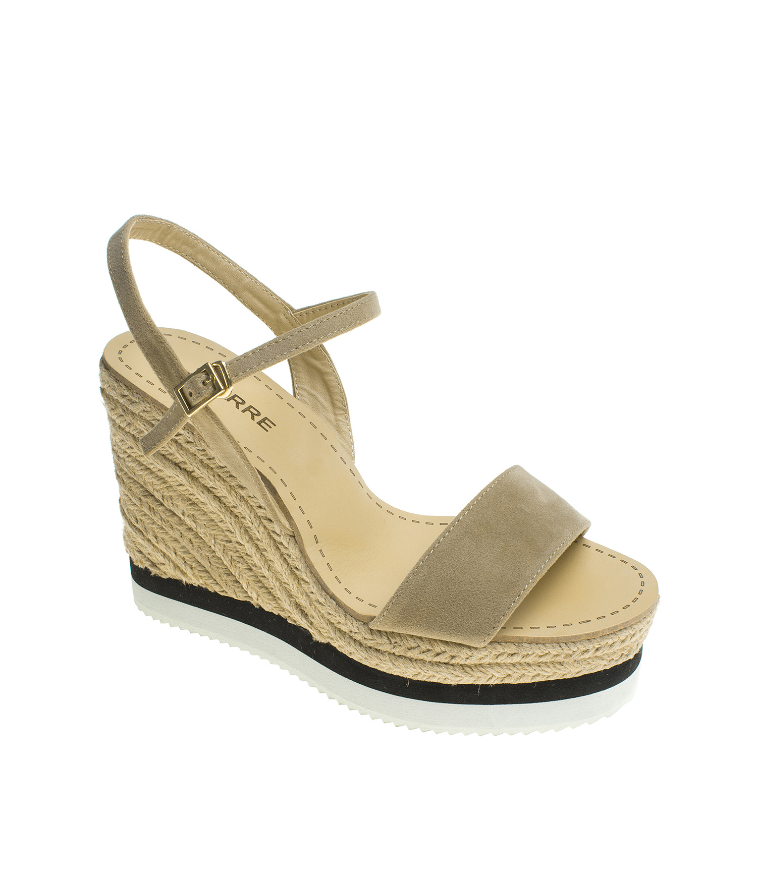 d61f9b0d92f Suede Ankle Strap Espadrille Wedge Sandal