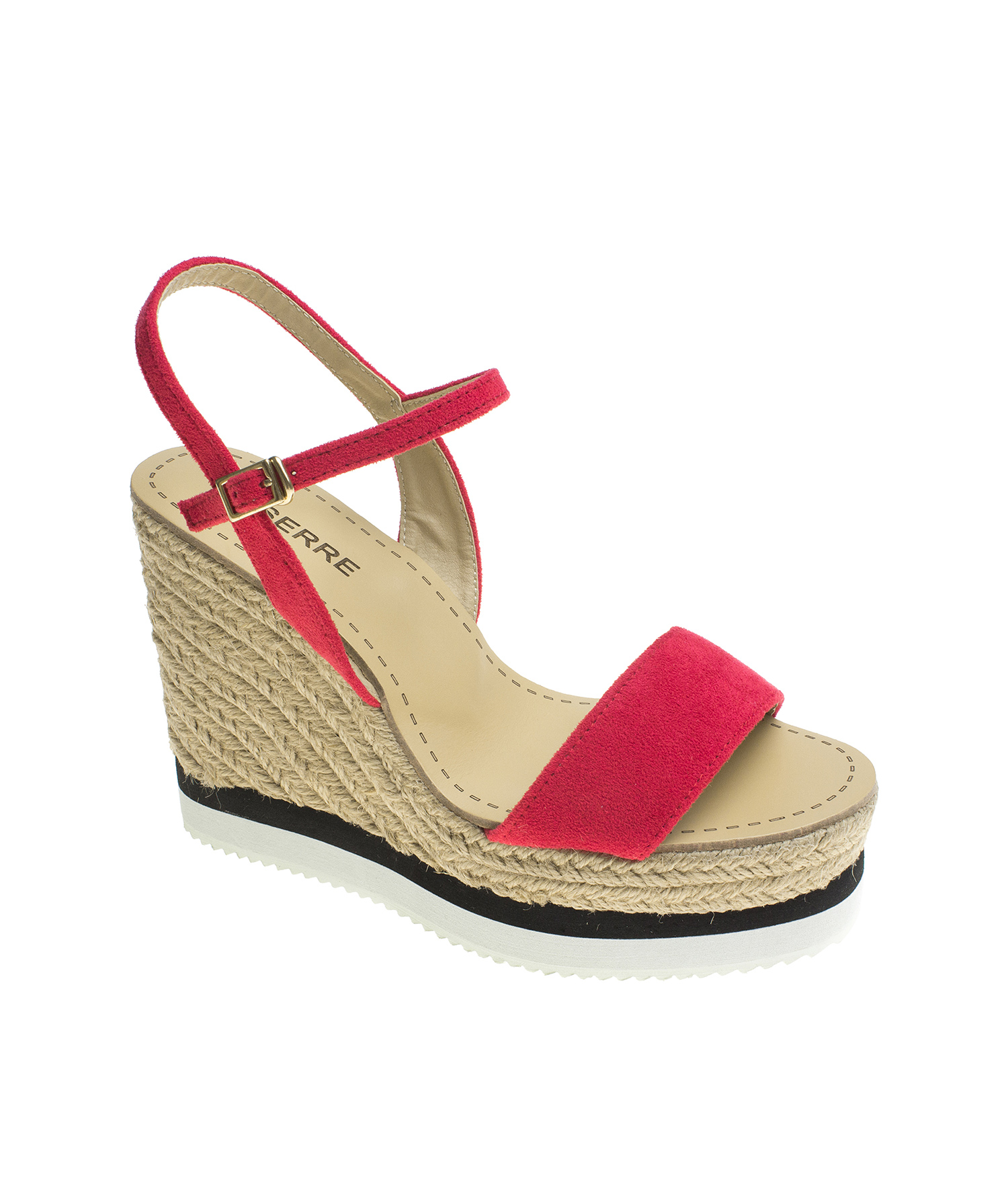 2879539c88c AnnaKastle Womens Suede Ankle Strap Espadrille Wedge Sandal Cardinal
