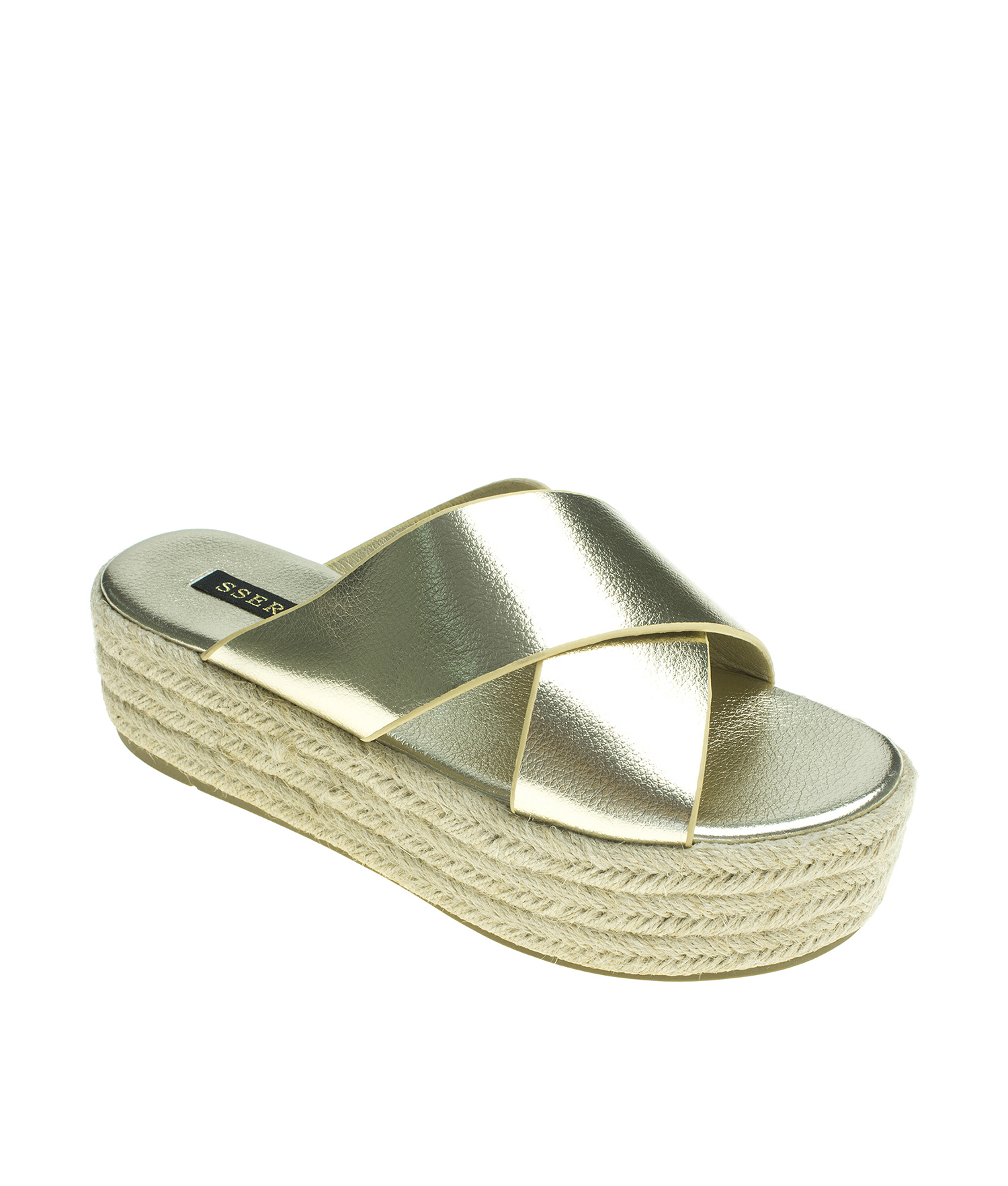 165e829dd71d AnnaKastle Womens Metallic Criss Cross Strap Espadrille Platform Slide Gold