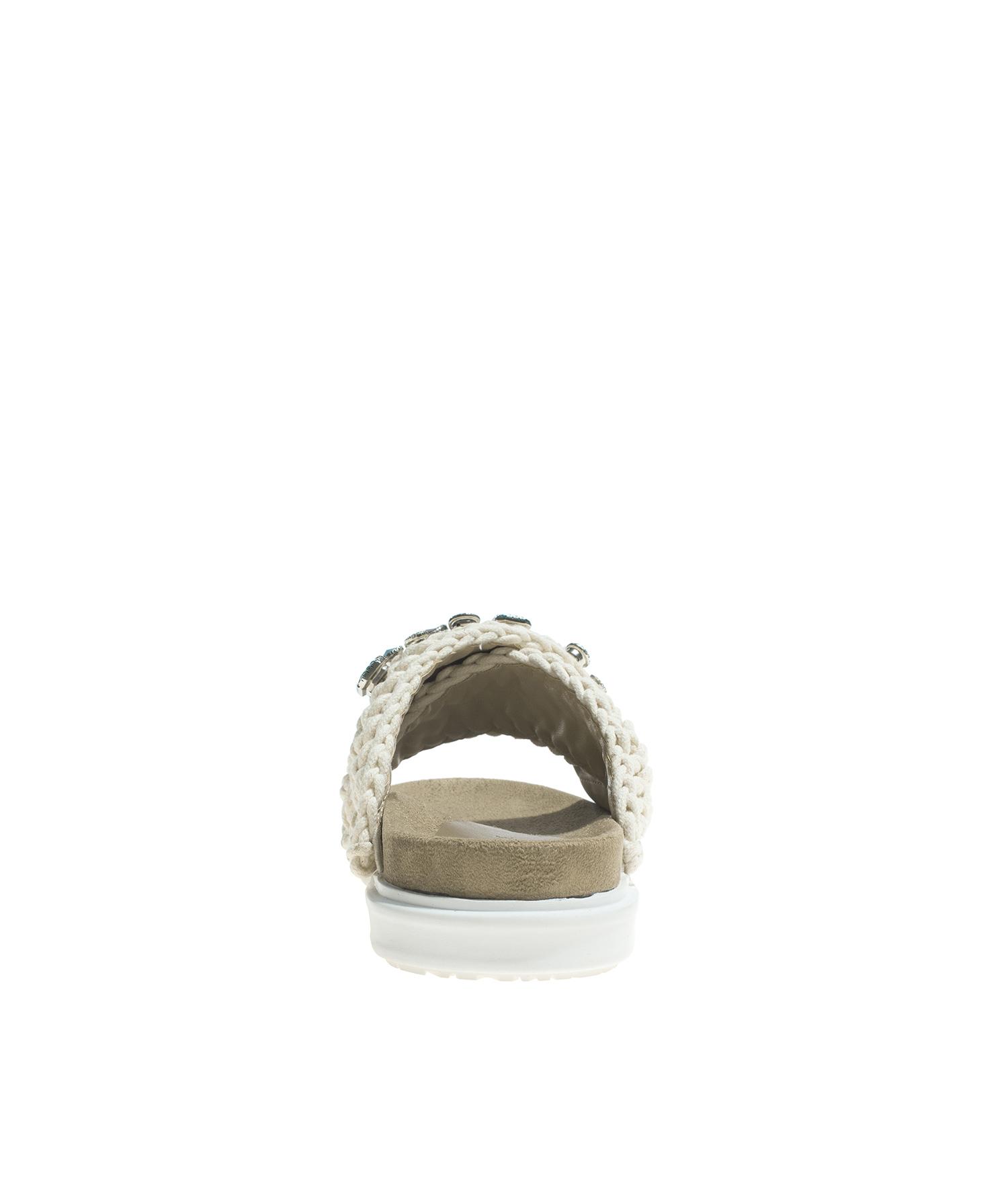 5baba3555df AnnaKastle Womens Chunky Knit Criss Cross Slide Sandals Beige