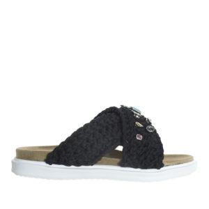 46a3989a4cf AnnaKastle Womens Chunky Knit Criss Cross Slide Sandals Black