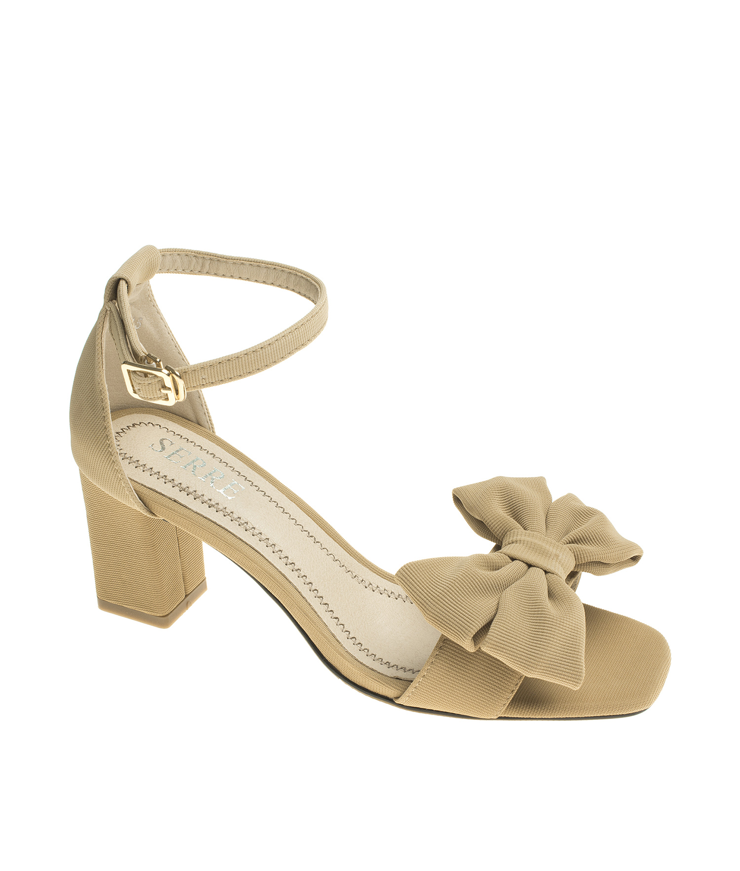 AnnaKastle Womens Ankle Strap Heel Sandals Bow Dress Shoes Beige