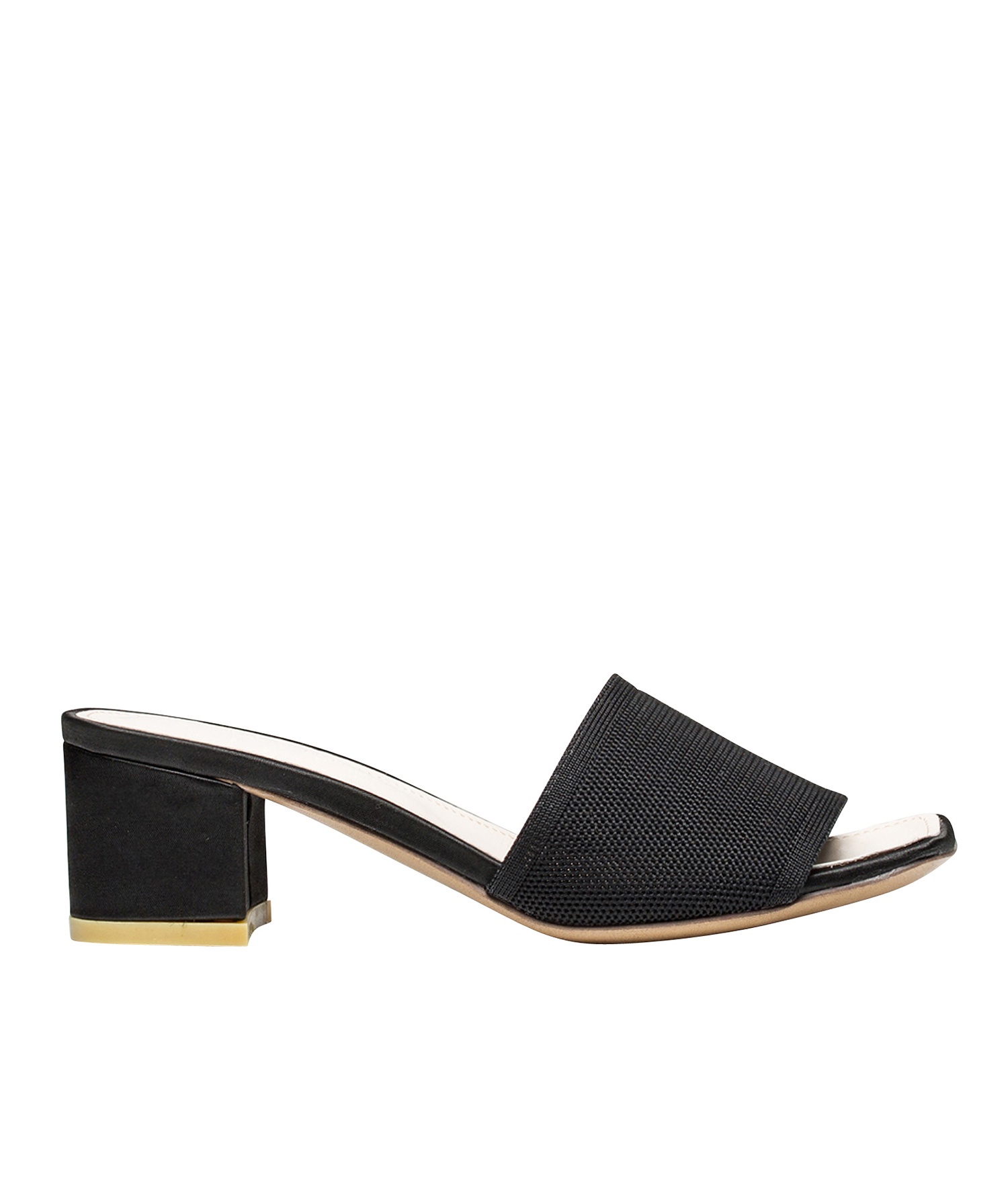 eec371c158899e AnnaKastle Womens Minimal Fabric Slide Block Heel Sandals Black