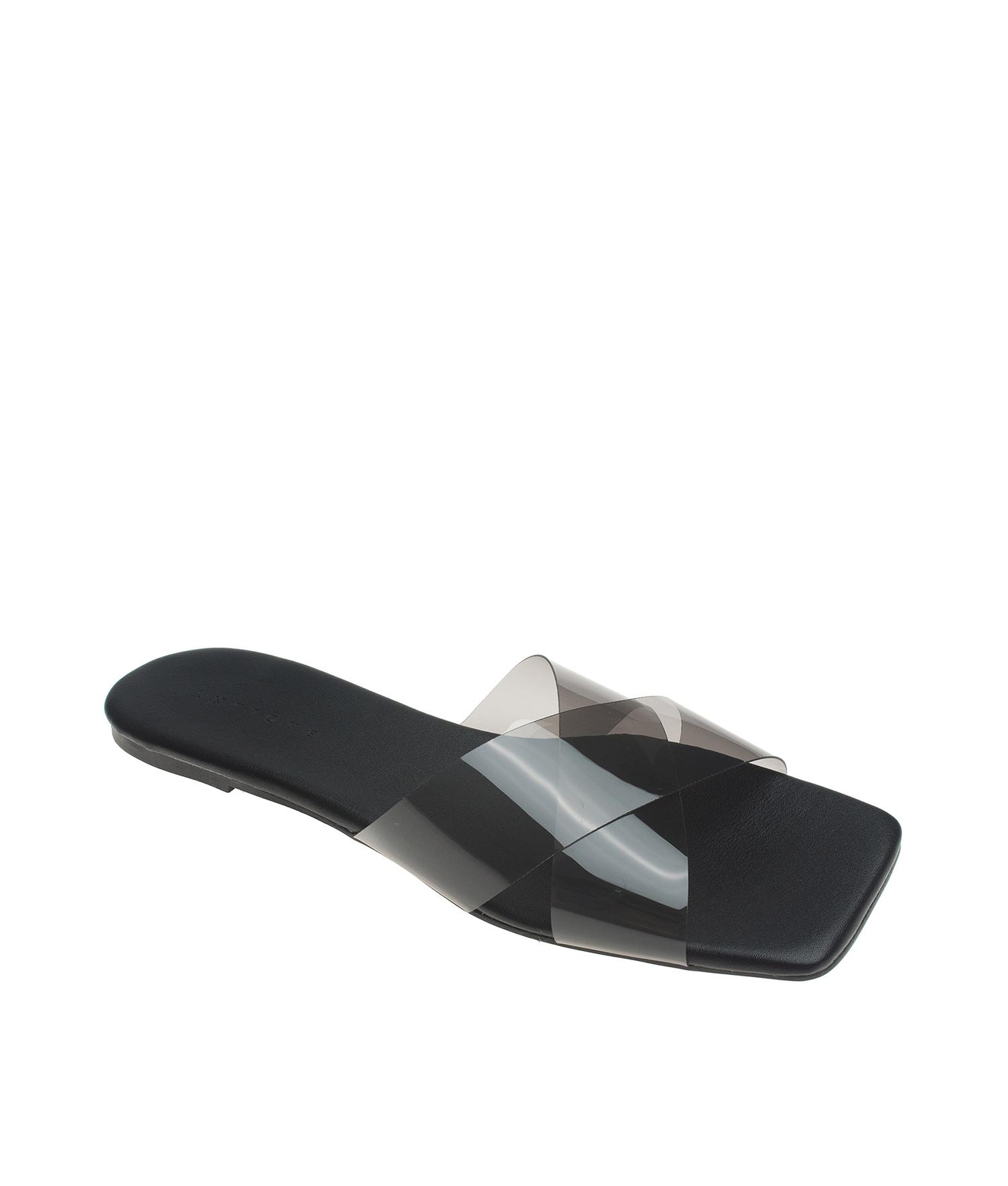 367e4568e873 AnnaKastle Womens CrissCross Strap Clear Translucent Slide Slipper Sandals  Black