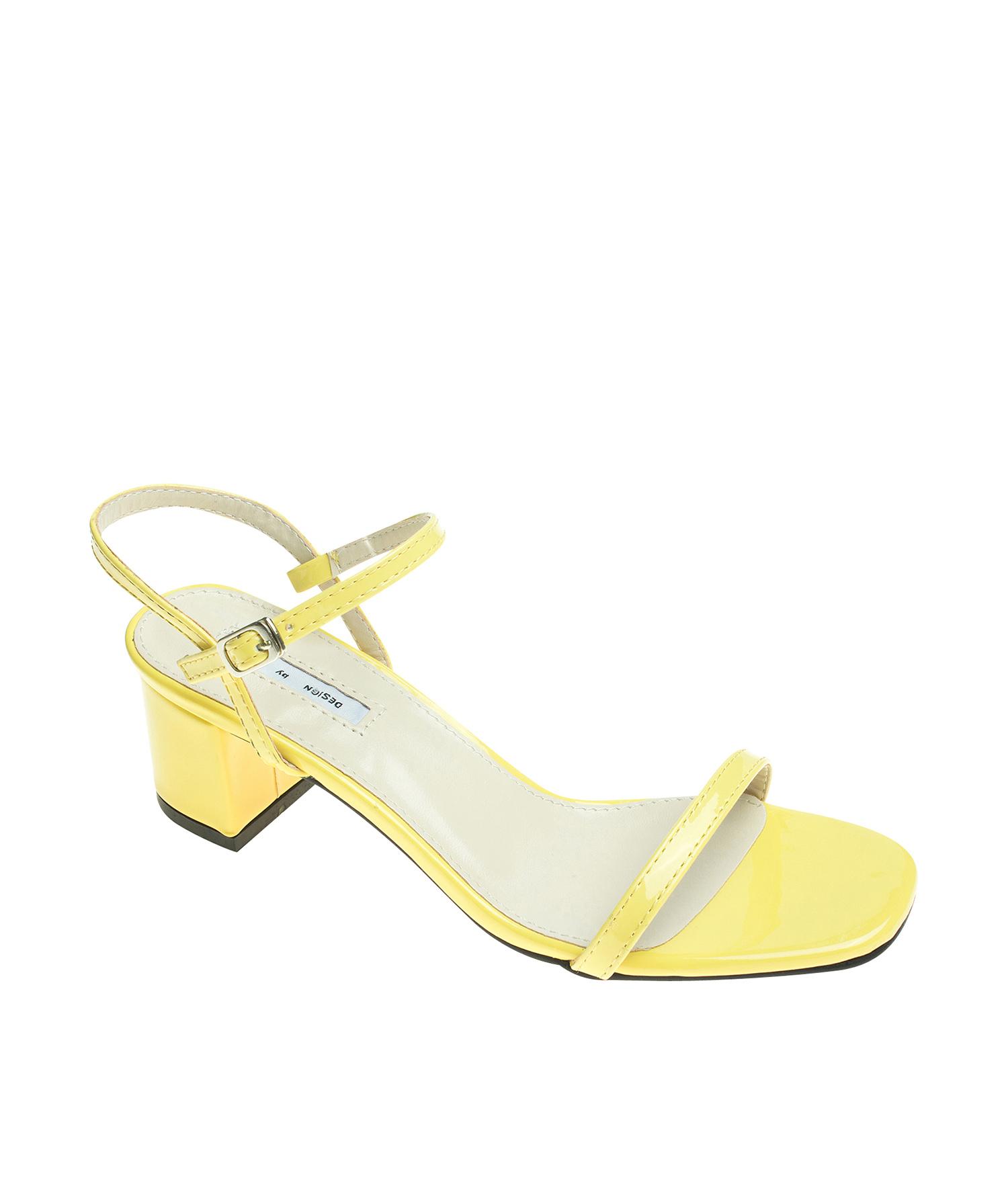 c2eaf913cc2 AnnaKastle Womens Patent Ankle Strap Block Heel Sandals Yellow