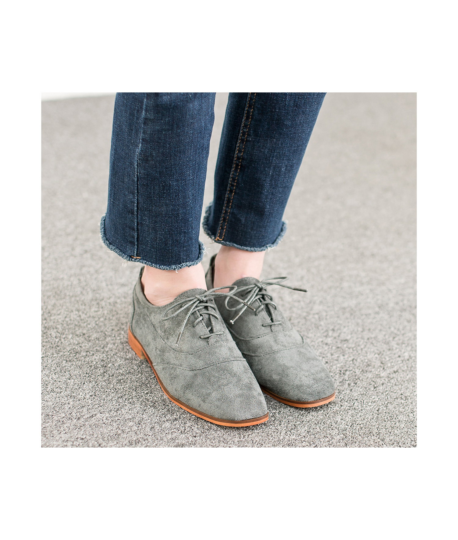 82558ebb28947 AnnaKastle Womens Vegan Suede Lace Up Oxfords Gray