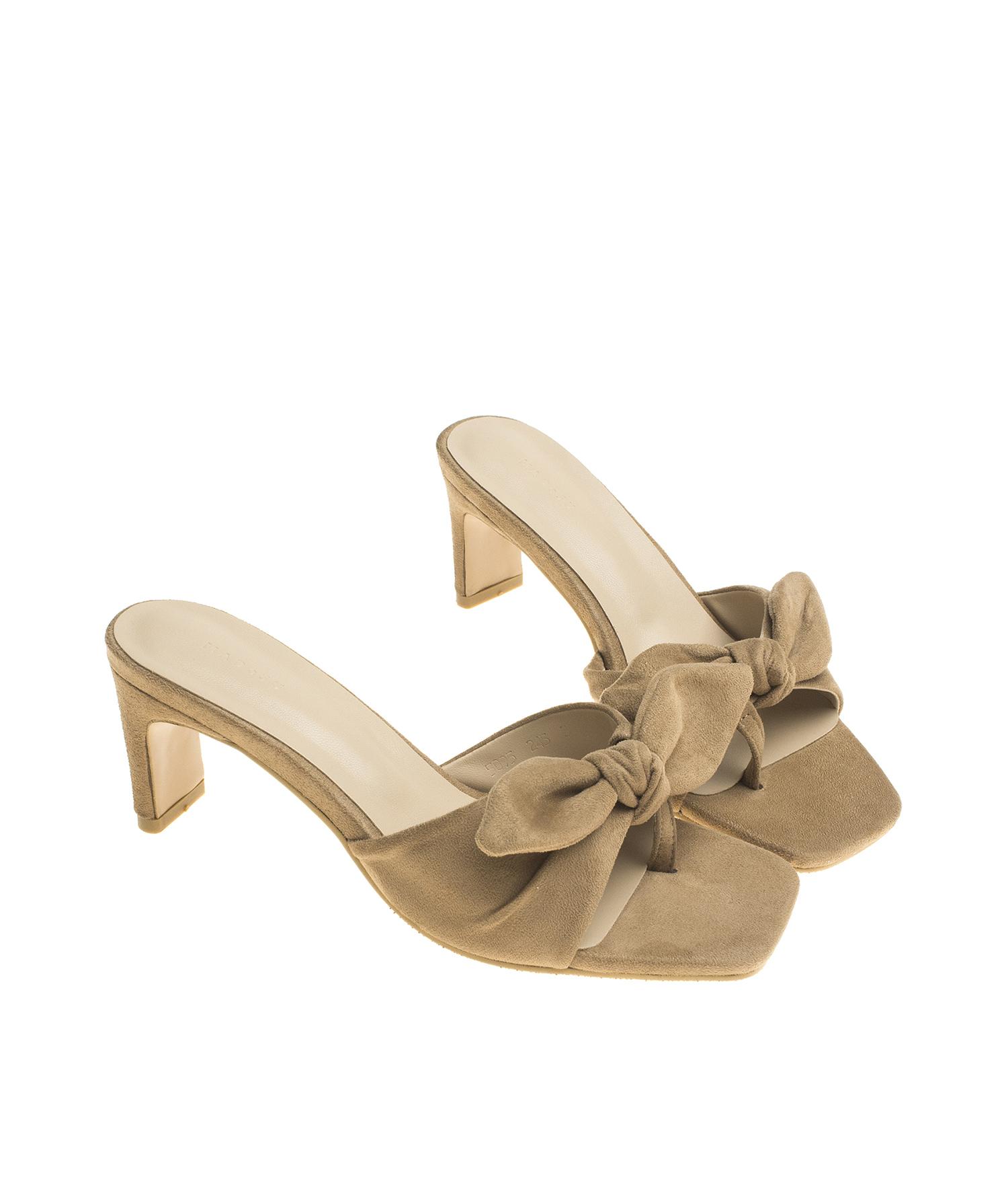 c535623e6b85 AnnaKastle Womens Bow Knot Toe Ring Mule Sandals Beige