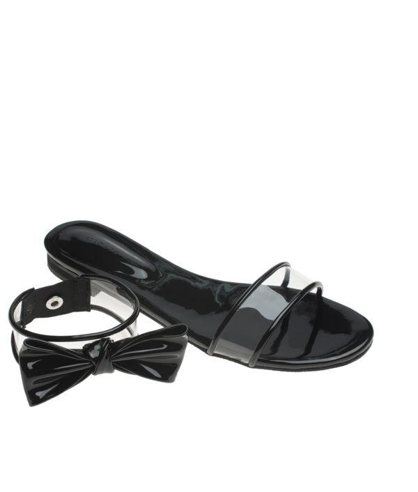 f30bfe83b AnnaKastle Womens Bow Clear Strap Slide Slipper 2 Way Sandals Black