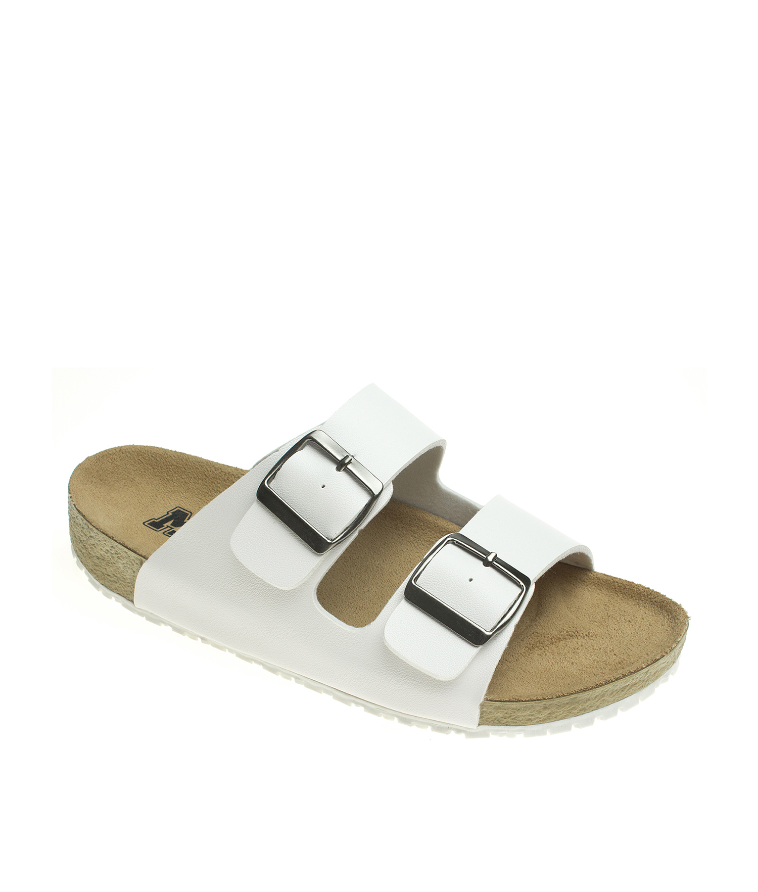 861b19a13 AnnaKastle Womens Double Strap Silde Flat Sandals White