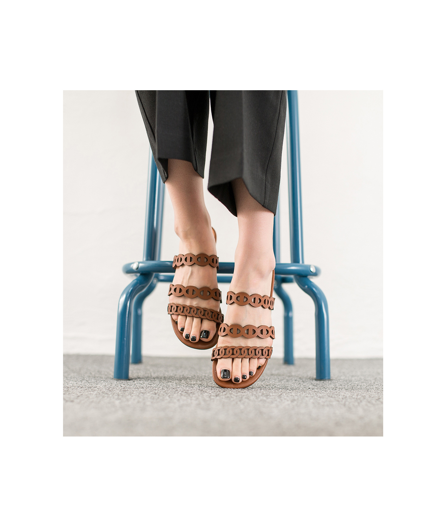 0cb0a0420 AnnaKastle Womens Three Strap Slide Sandals Brown