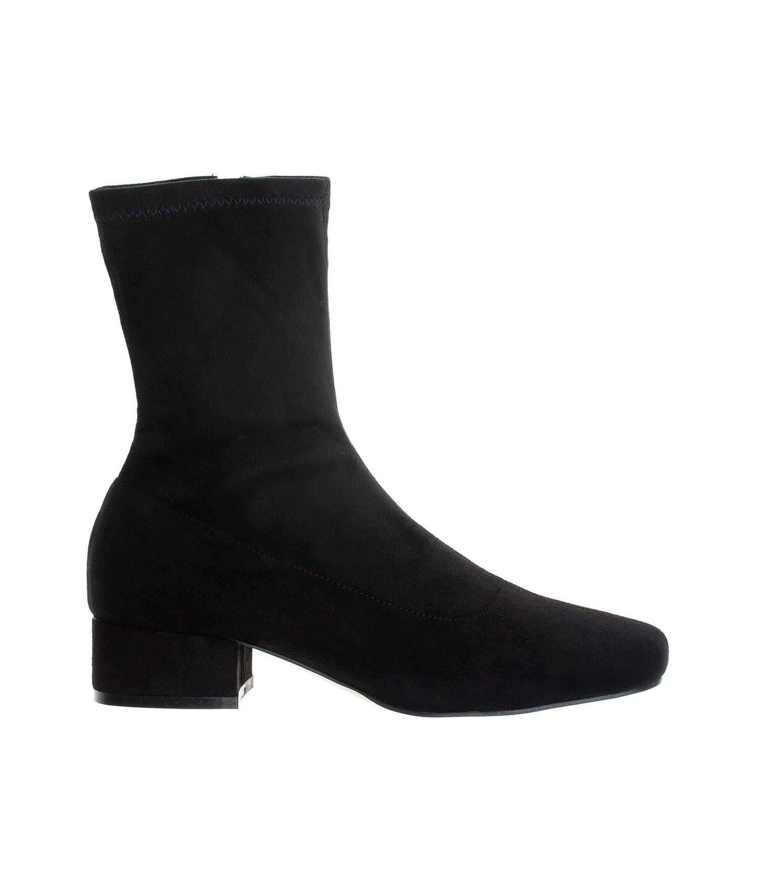 14c9c1c26e6 AnnaKastle Womens Stretch Shaft Ankle Bootie Low Heel Boots SuedeBlack