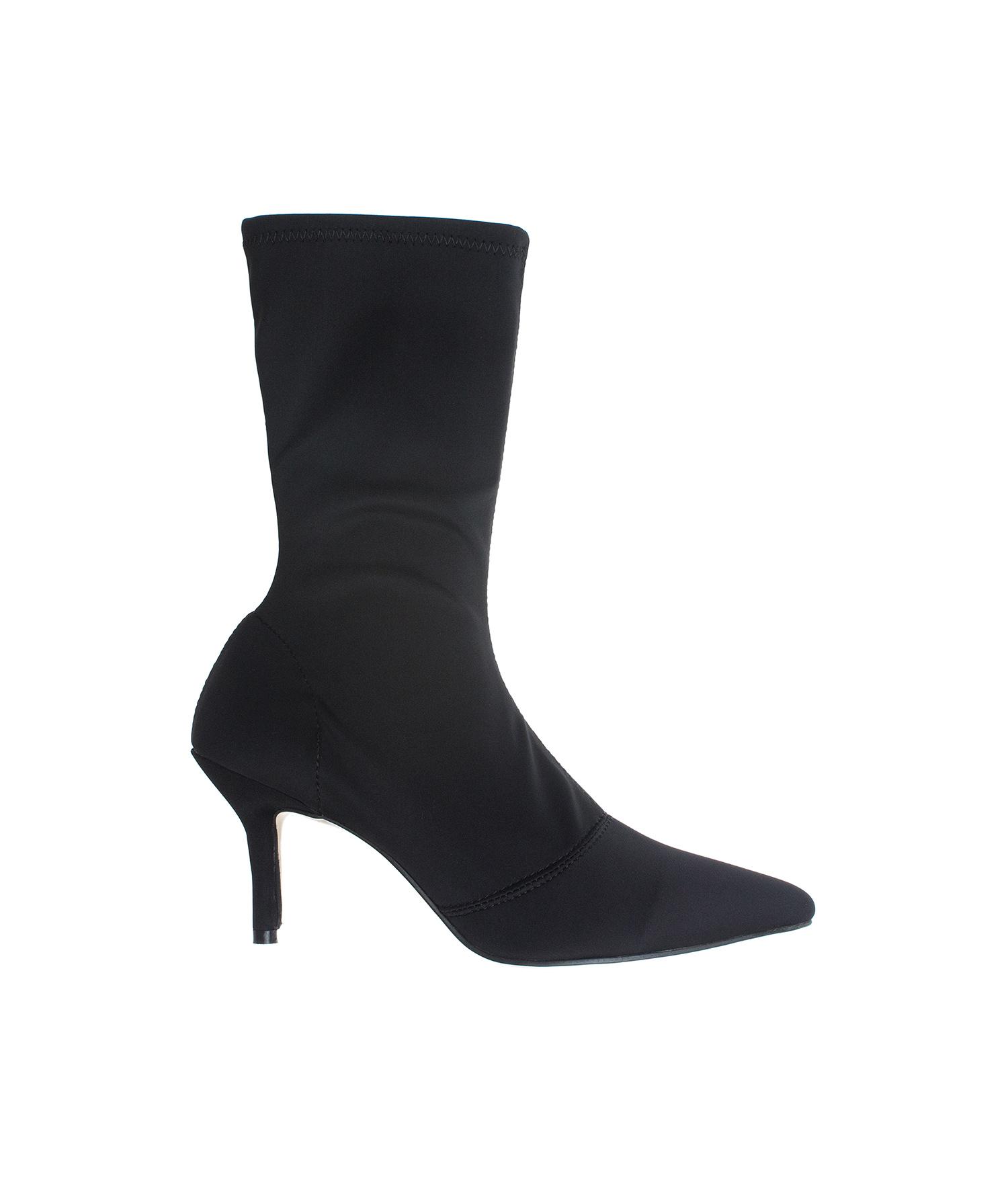 4d908e5165093 AnnaKastle Womens Pointy Toe Stretch Mid-Calf Boots Kitten Heel Booties  NeopreneBlack