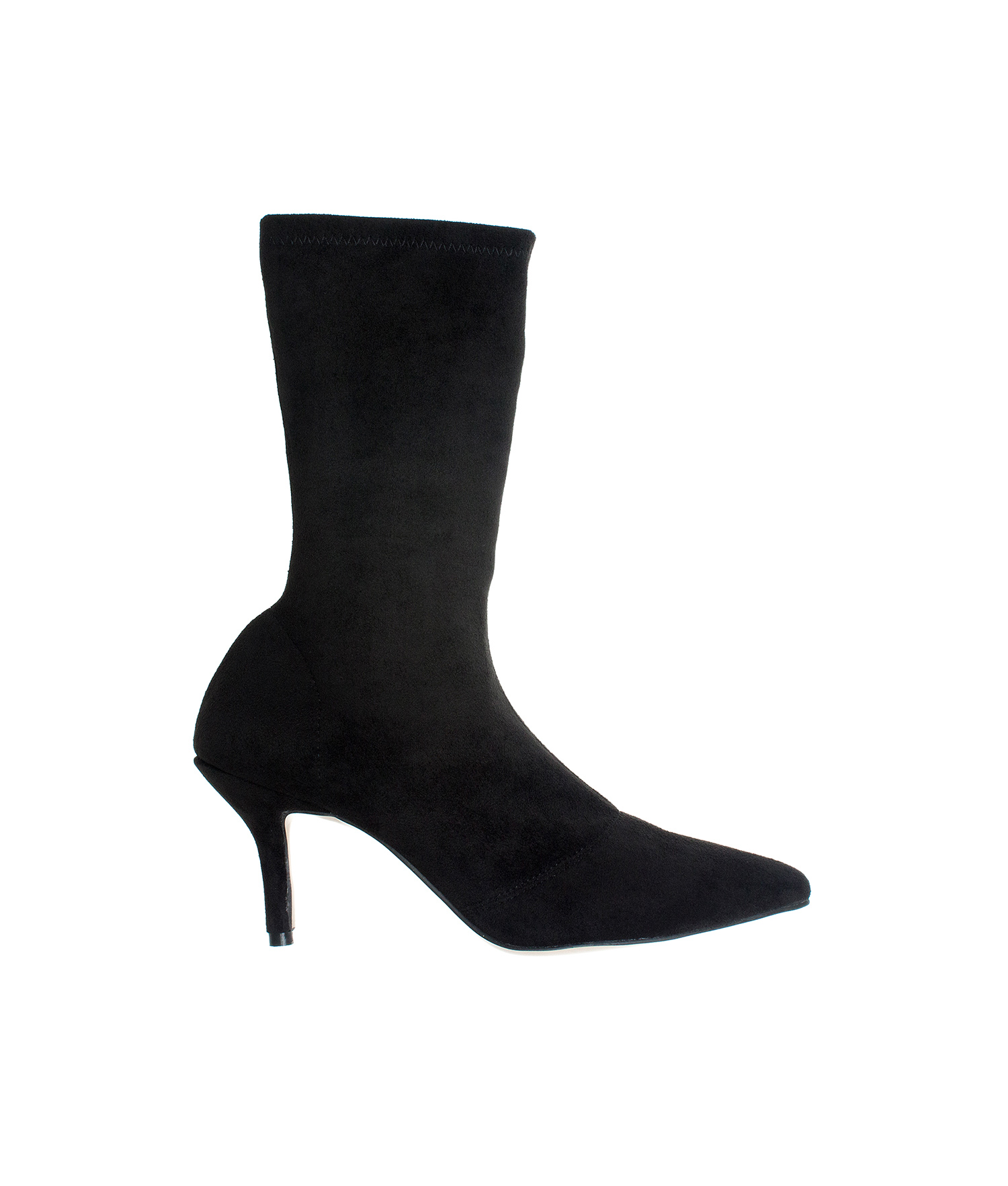 AnnaKastle Womens Pointy Toe Stretch Mid-Calf Boots Kitten Heel Booties  SuedeBlack ed9477c3a