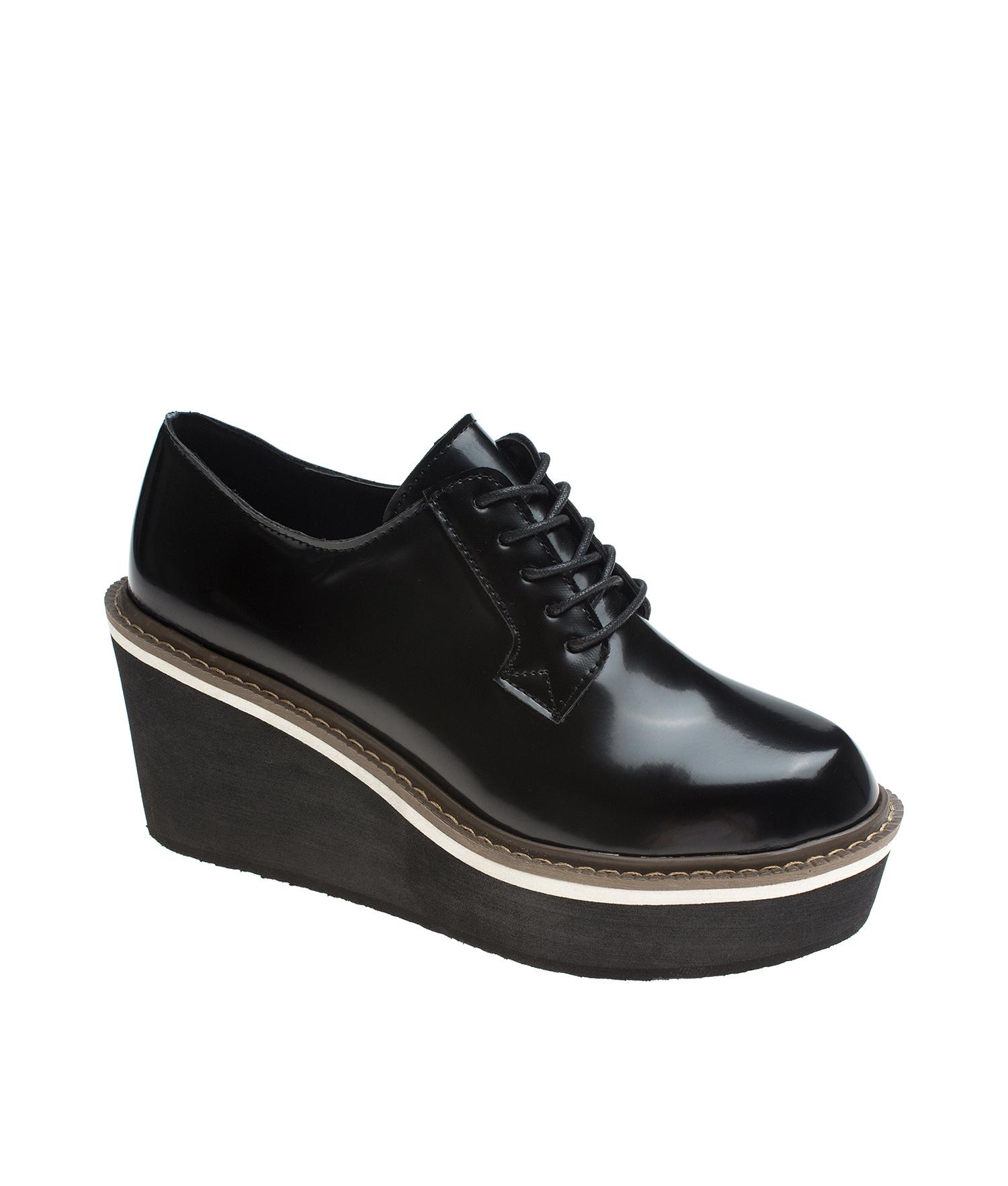 d94da624624 Black Platform Wedge Oxford Creeper Shoes - annakastleshoes.com