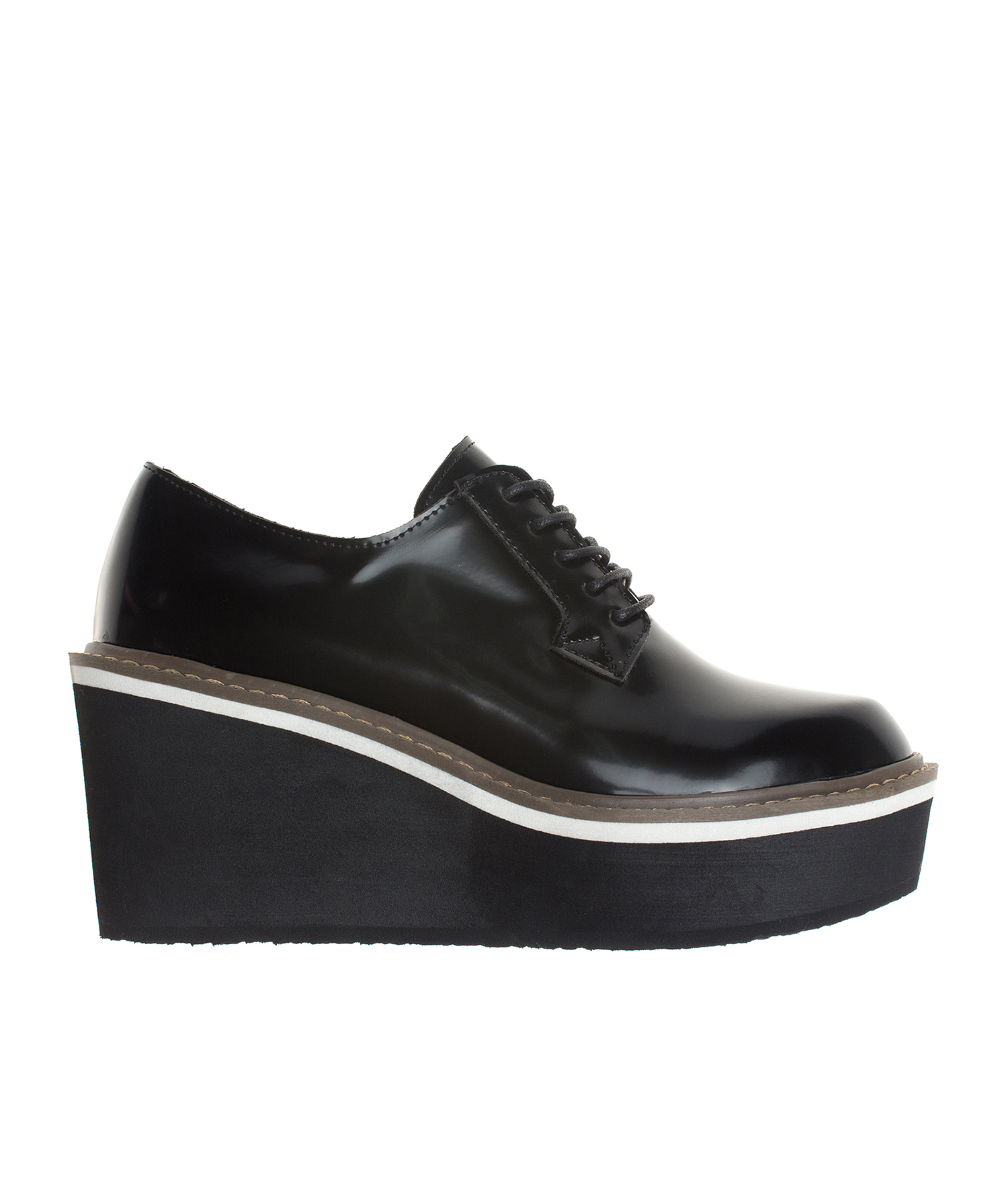 Black Platform Wedge Oxford Creeper Shoes