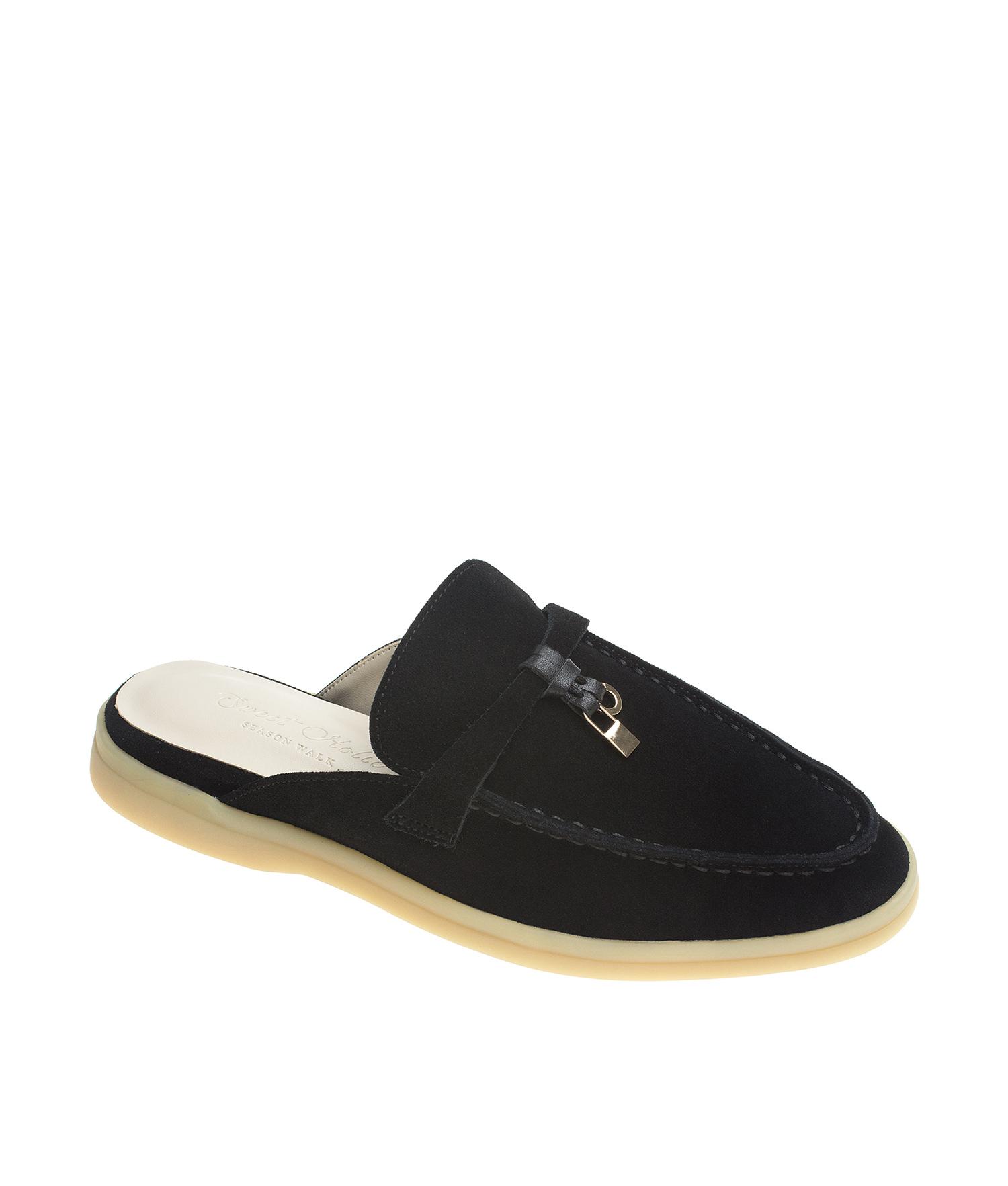 Suede Leather Sleek Toe Backless Loafer