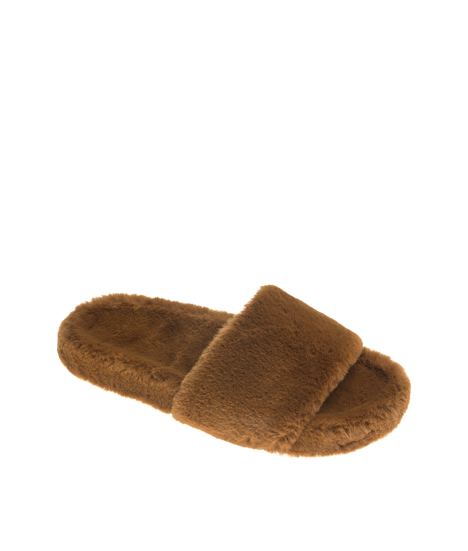 0db9ecd6d4aa AnnaKastle Womens Soft Fluffy Faux Fur Slide Sandals Brown