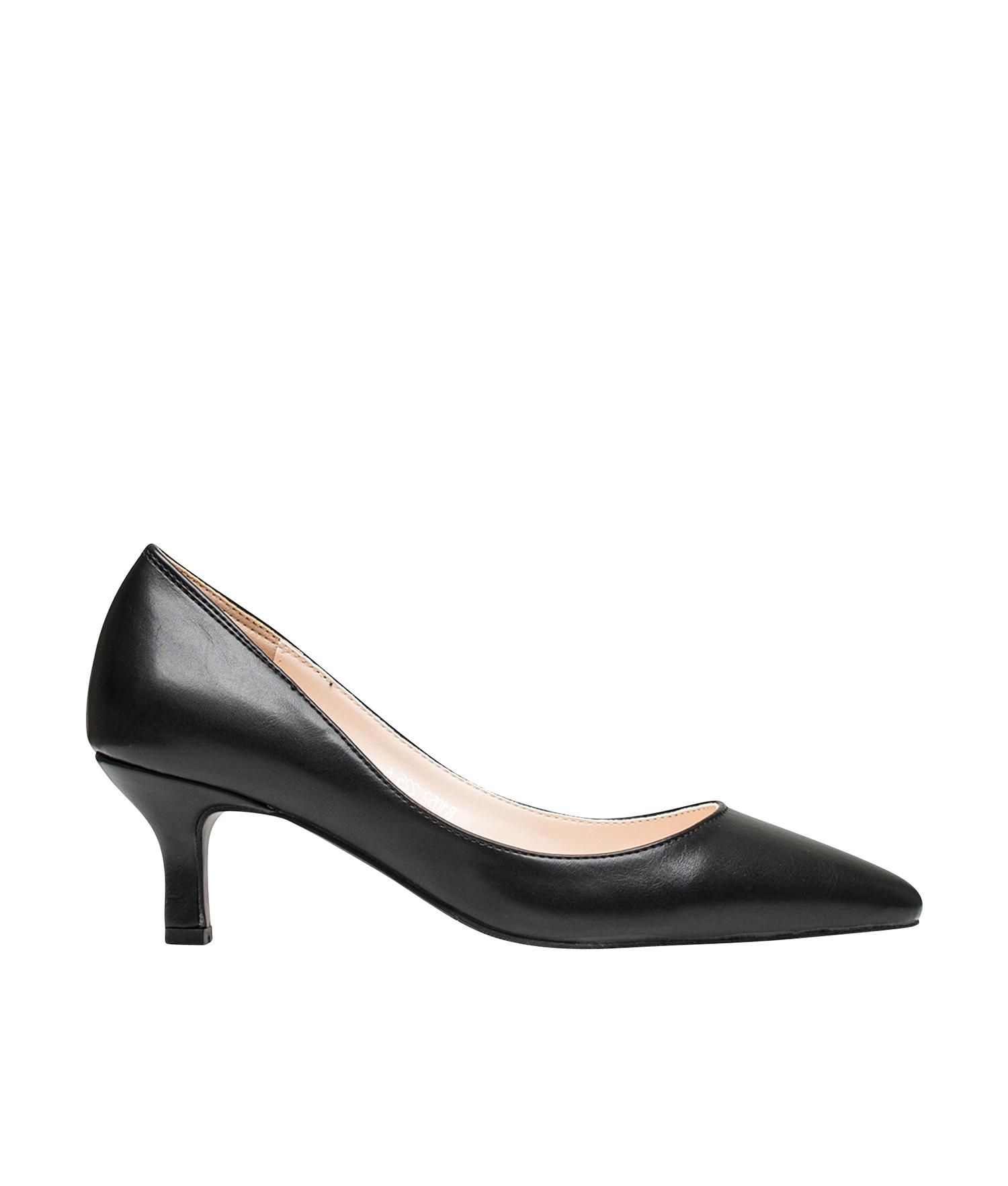 AnnaKastle Womens Classic Pointy Toe Kitten Heel Pumps Black