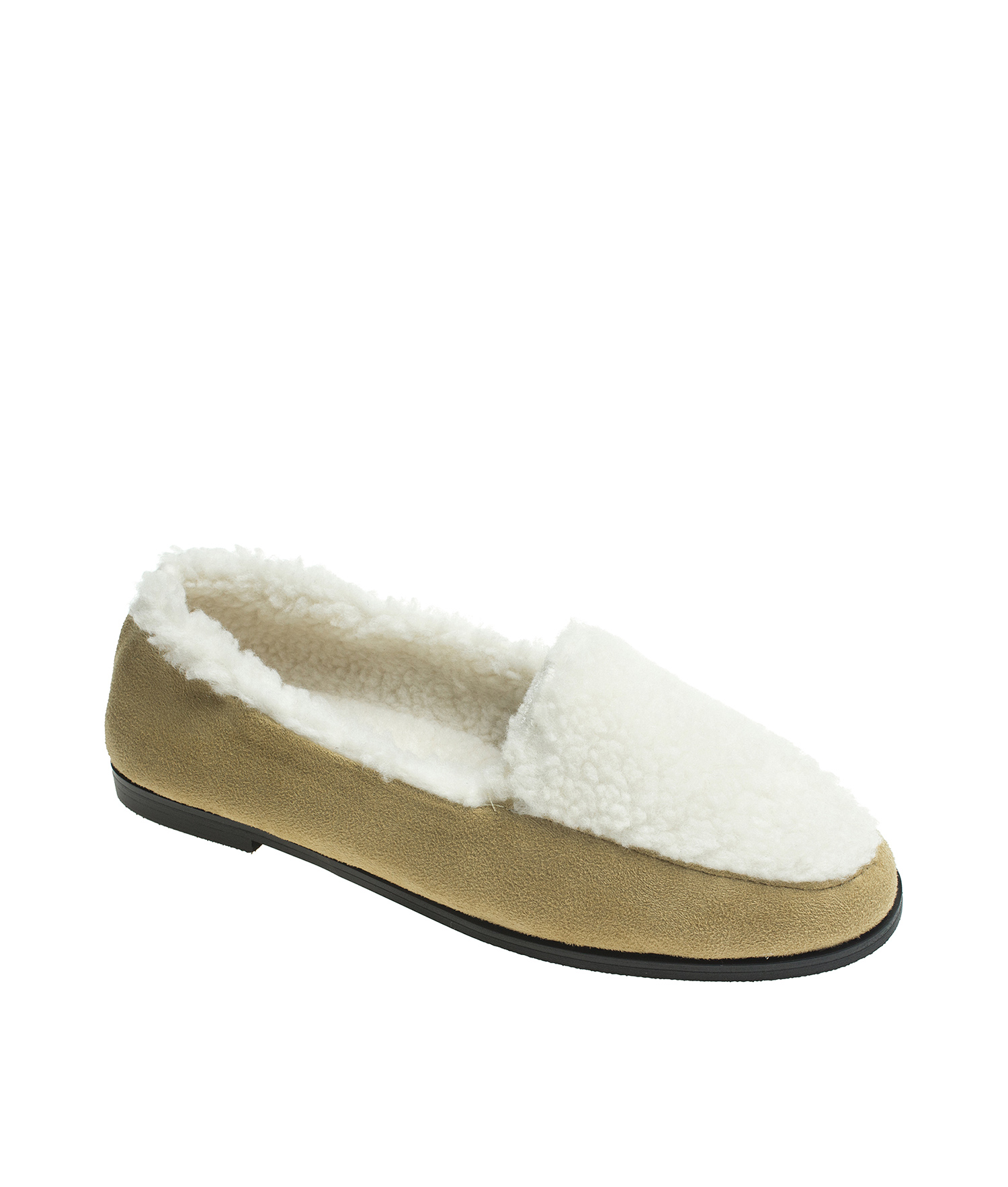 fdf79afcccc AnnaKastle Womens Two Tone Shearling Loafers Beige