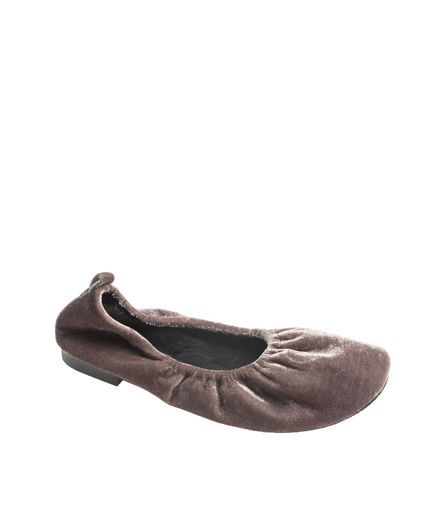Fur Lined Velvet Ballet Flats