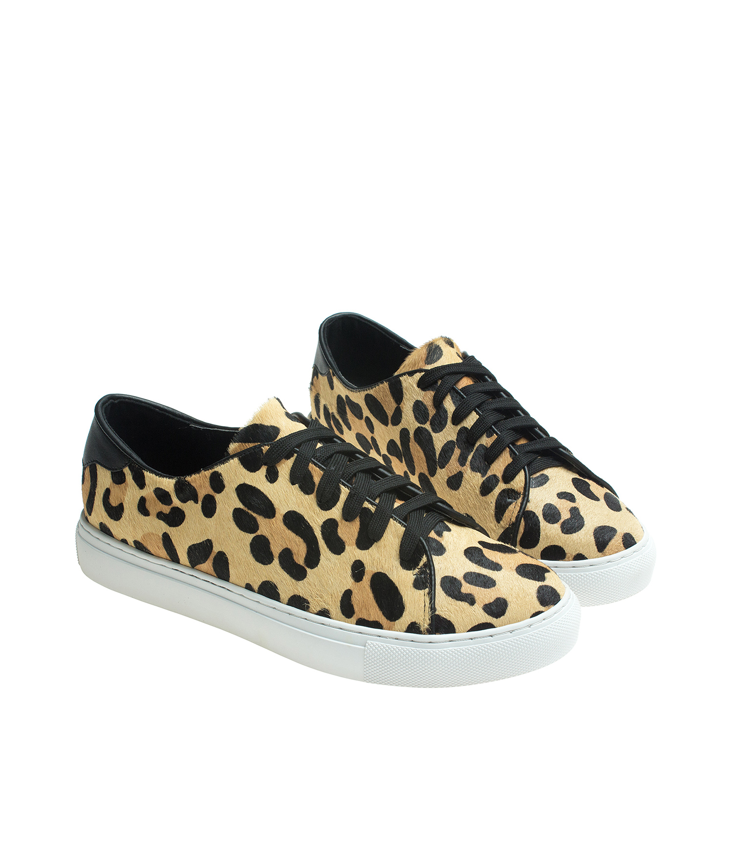 56dfd9306f4f Leopard Print Calf Hair Lace Up Sneakers - annakastleshoes.com