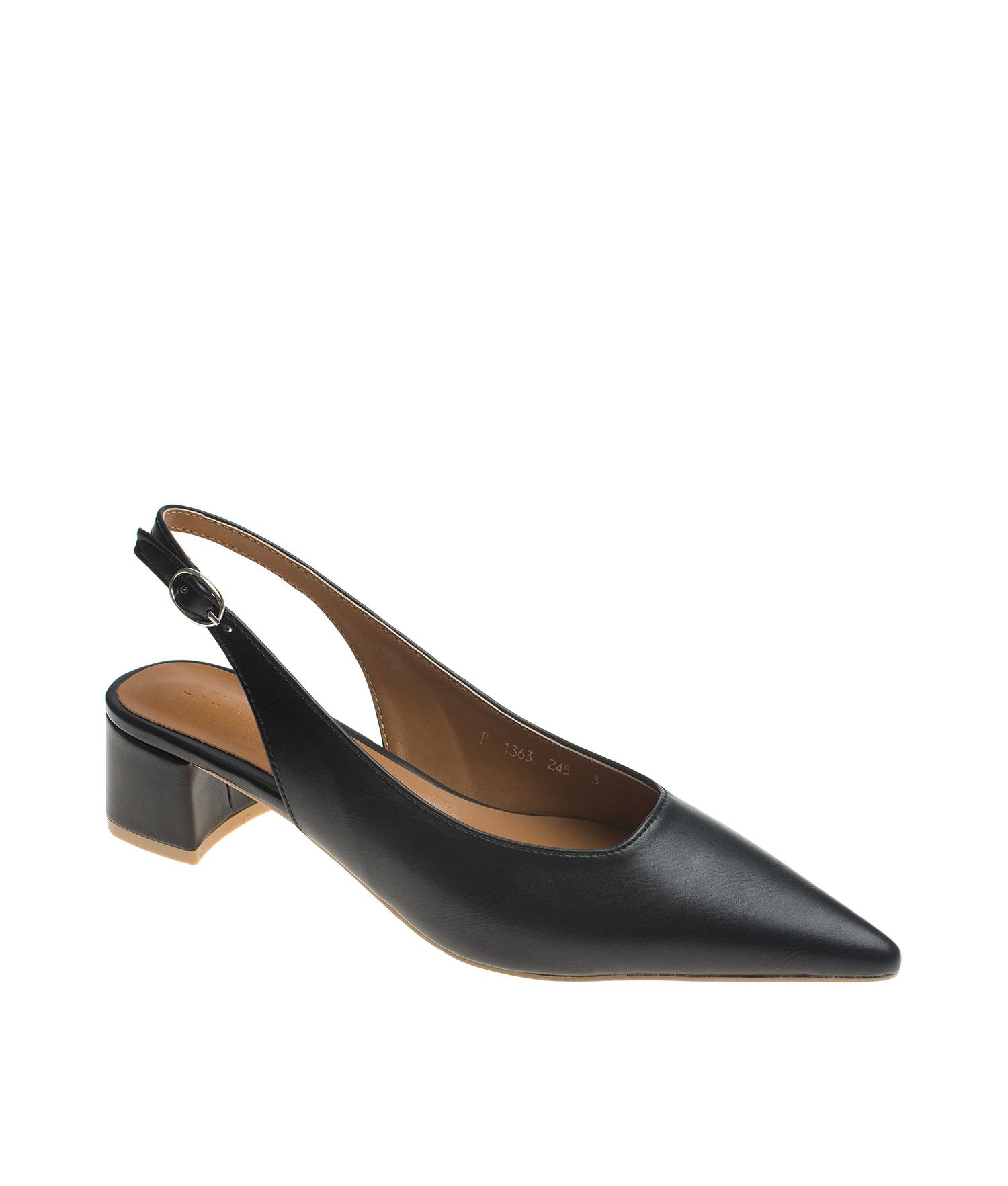 AnnaKastle Womens Pointed Toe Low Block Heel Slingbacks Black