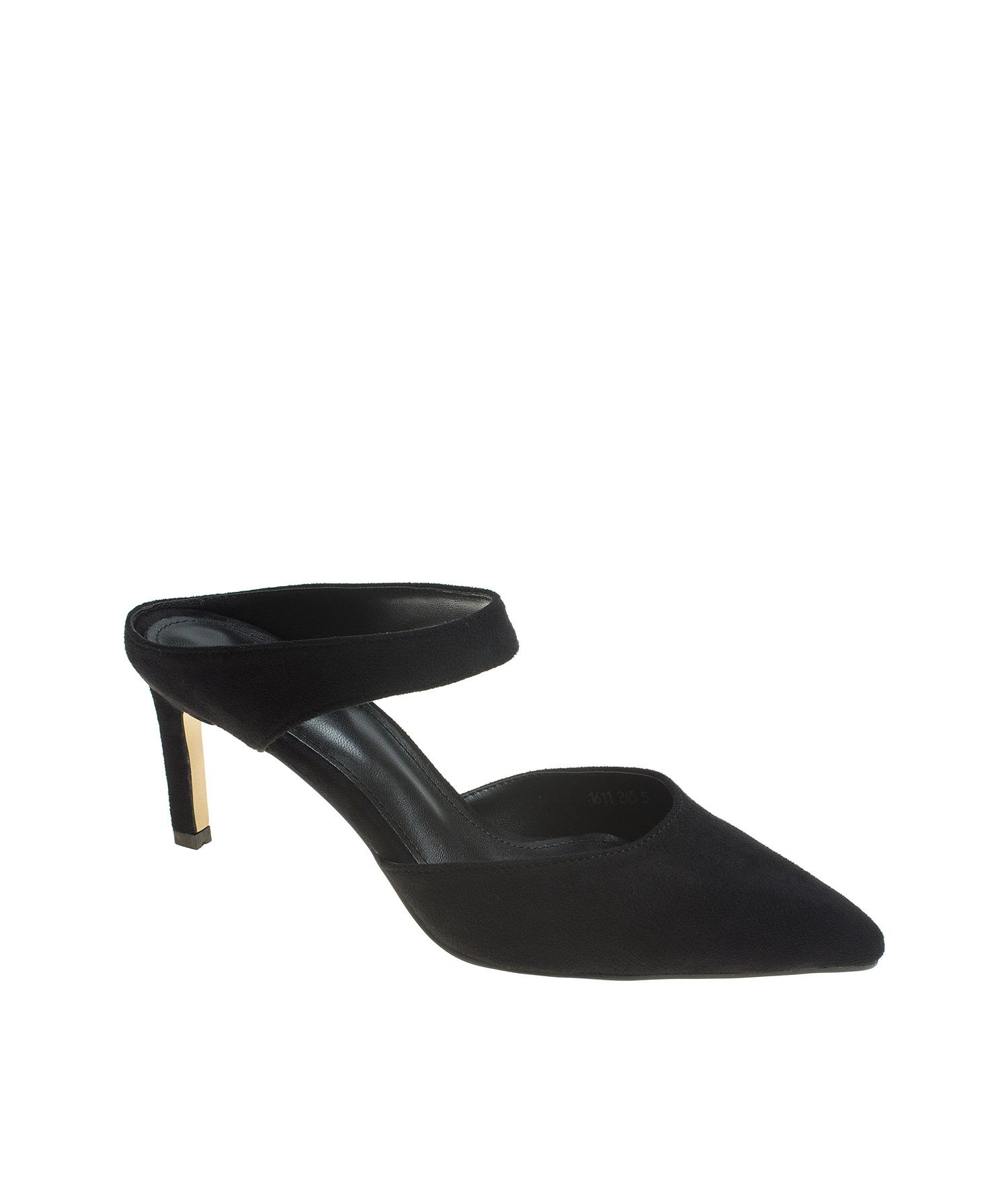 ec765b64f42 AnnaKastle Womens Ankle Strap Closed Toe Heel Mules Suede Black