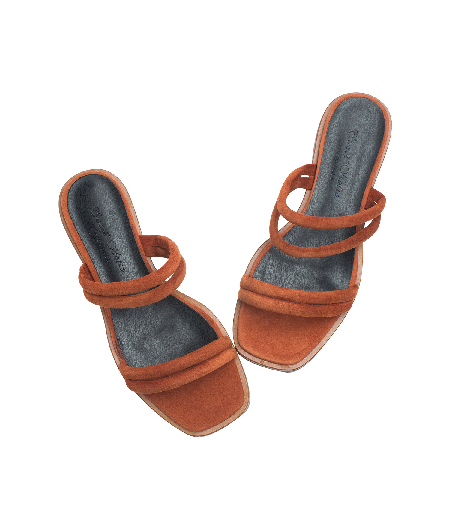 Puffed Suede Strappy Slide Sandals