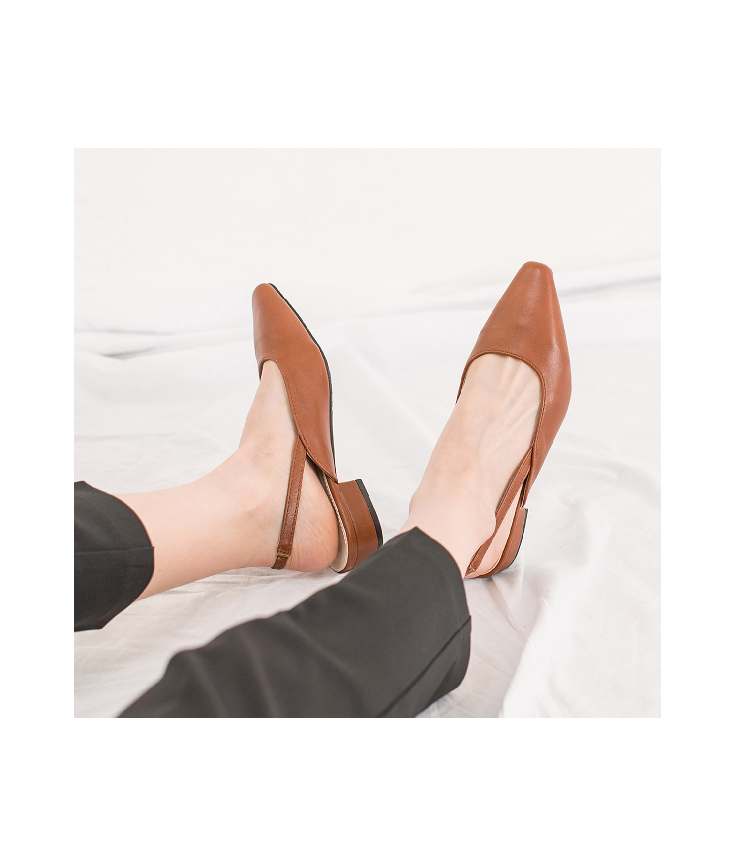 ff34ac97d9f88 AnnaKastle Womens Pointy Toe Low Heel Slingback Pumps Brown