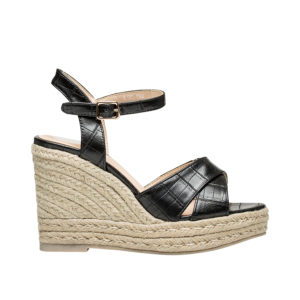 0b60b3b65 AnnaKastle Womens Croc-Embossed Espadrille Wedge Sandals Black