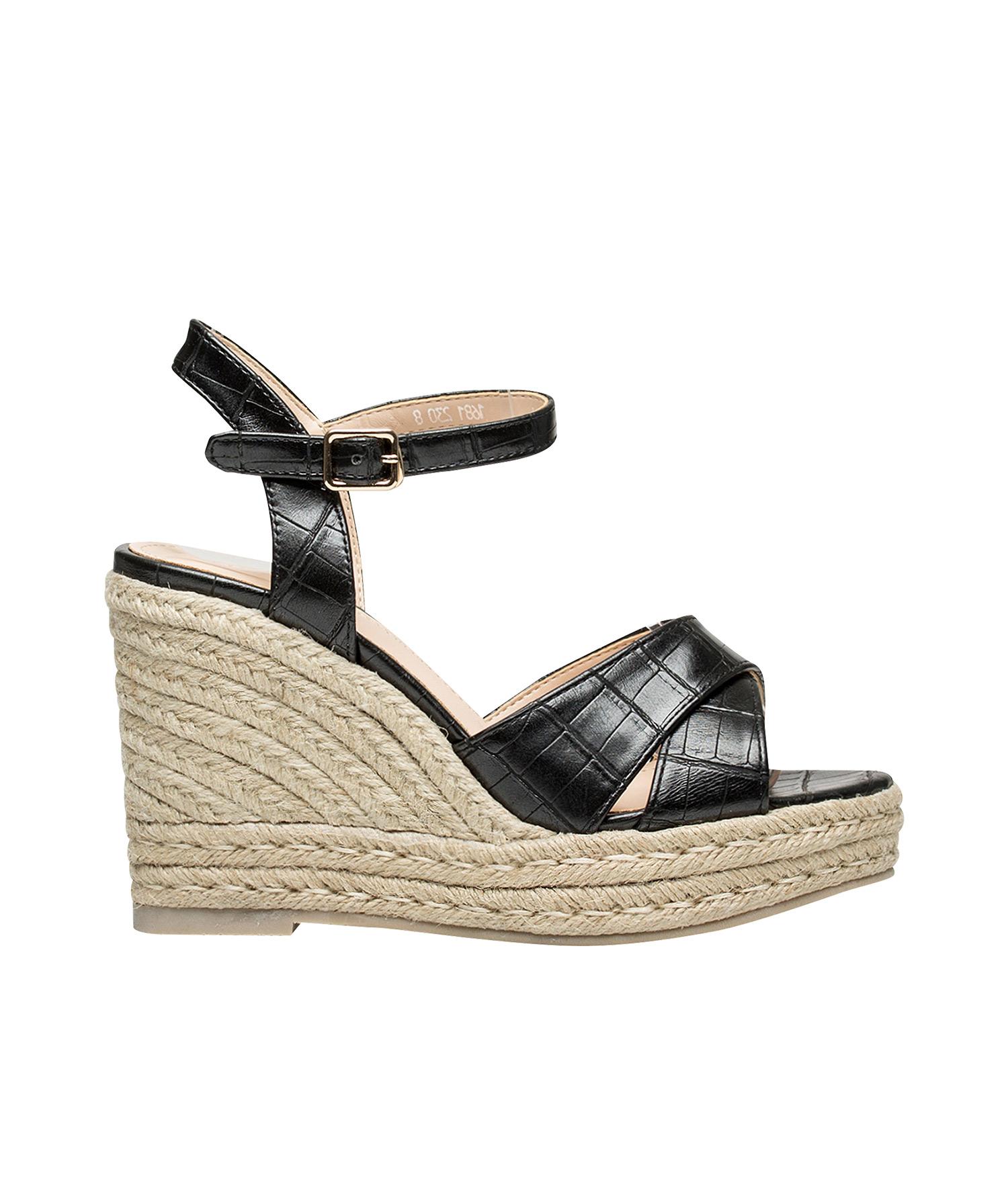 75846edeb4d Croc-Embossed Espadrille Wedge Sandals