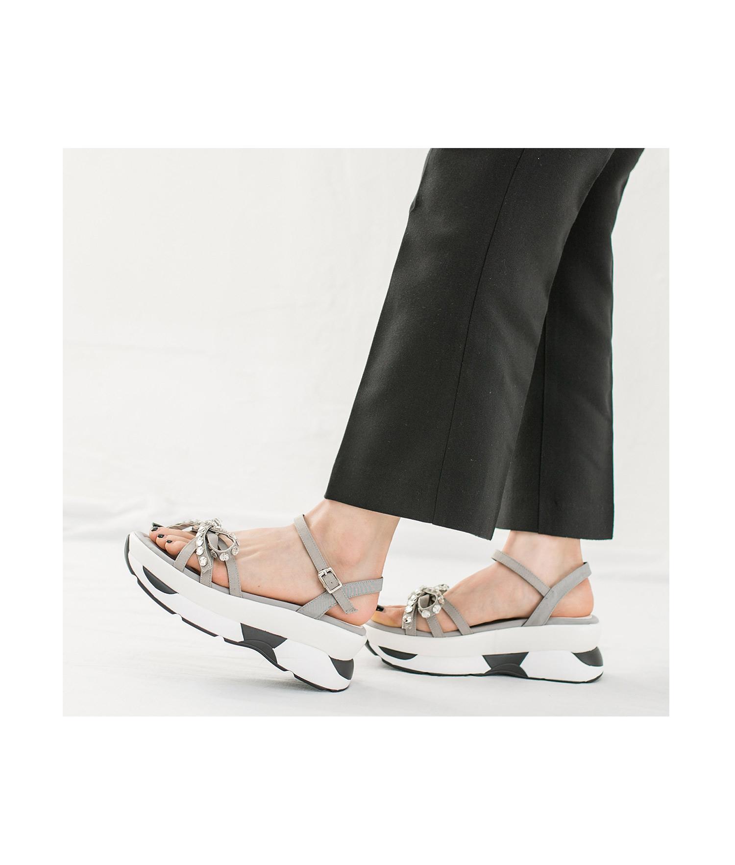 Faux Crystal Bow Sneaker Sole Platform