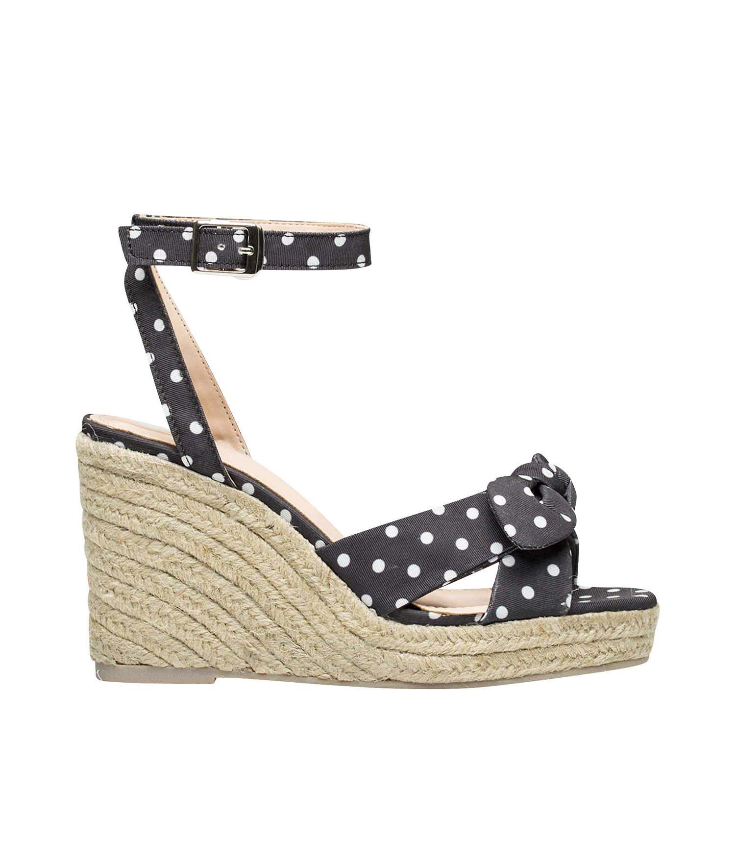 041f011f2 AnnaKastle Womens Knotted Bow Front Espadrille Wedge Sandals Black + Dot