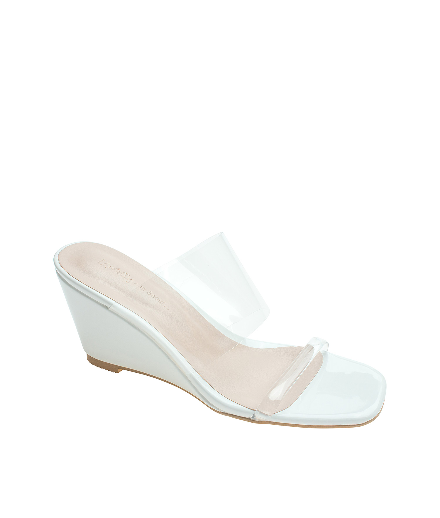 1bba44fdc AnnaKastle Womens Double Clear Strap Wedge Heel Mule Sandals White