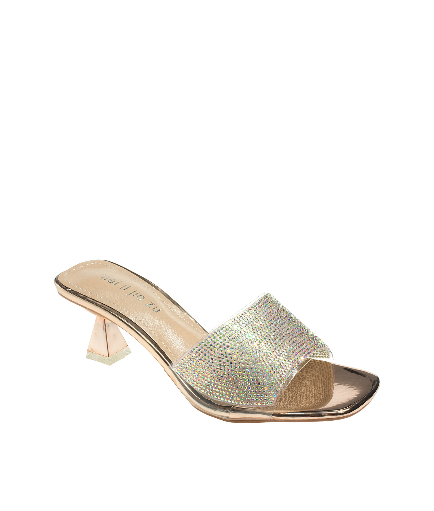 5b24fc210022 Embellished Clear Rose Gold Mule Heels - annakastleshoes.com